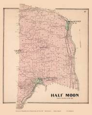 Halfmoon, New York 1866 - Old Town Map Reprint - Saratoga Co.