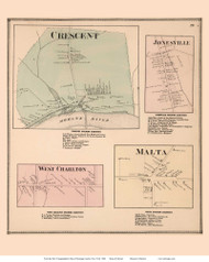 Crescent, Jonesville, West Charlton, and Malta Villages - Halfmoon, New York 1866 - Old Town Map Reprint - Saratoga Co.