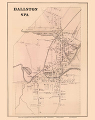 Ballston Spa Village - Milton, New York 1866 - Old Town Map Reprint - Saratoga Co.