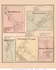 Bloodville, Ganesvoort, Rock City, Vischers Ferry, and West Milton Villages - Milton, New York 1866 - Old Town Map Reprint - Saratoga Co.