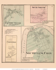South Glens Falls, Factory Village, Fortsville, and South Corinth Villages - Moreau, New York 1866 - Old Town Map Reprint - Saratoga Co.