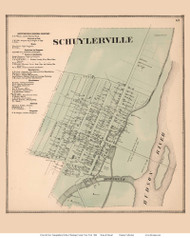 Schuylerville - Saratoga, New York 1866 - Old Town Map Reprint - Saratoga Co.