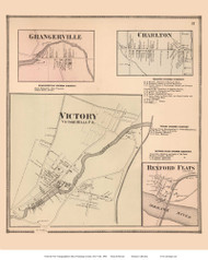 Victory, Grangerville, Charlton, and Rexford Flats Villages - Saratoga, New York 1866 - Old Town Map Reprint - Saratoga Co.