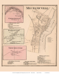 Mechanicville, Conklingville, Barkersville, and North Greenfield Villages - Stillwater, New York 1866 - Old Town Map Reprint - Saratoga Co.