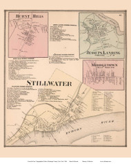 Stillwater, Burnt Hills, Jessups Landing, and Middletown Villages - Stillwater, New York 1866 - Old Town Map Reprint - Saratoga Co.