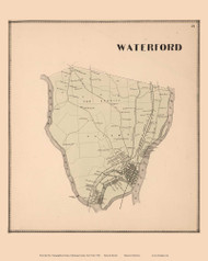 Waterford, New York 1866 - Old Town Map Reprint - Saratoga Co.