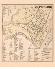 Waterford Village, New York 1866 - Old Town Map Reprint - Saratoga Co.