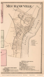 Mechanicville Village Only (Custom) - Stillwater, New York 1866 - Old Town Map Reprint - Saratoga Co.