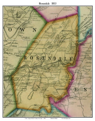 Rosendale, New York 1853 Old Town Map Custom Print - Ulster Co.