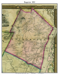 Saugerties, New York 1853 Old Town Map Custom Print - Ulster Co.
