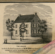 The House in which the first Constitution of New York was formed, New York 1853 Old Town Map Custom Print - Ulster Co.