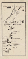 Crogan Village, New York 1857 Old Town Map Custom Print with Homeowner Names - Genealogy Reprint - Lewis Co.