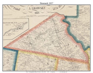 Denmark, New York 1857 Old Town Map Custom Print with Homeowner Names - Genealogy Reprint - Lewis Co.