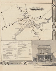 Copenhagen, New York 1857 Old Town Map Custom Print with Homeowner Names - Genealogy Reprint - Lewis Co.