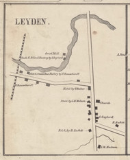 Leyden Village, New York 1857 Old Town Map Custom Print with Homeowner Names - Genealogy Reprint - Lewis Co.