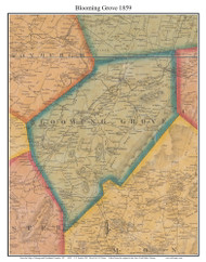 Blooming Grove, New York 1859 Old Town Map Custom Print with Homeowner Names - Orange Co.