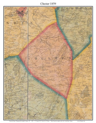 Chester, New York 1859 Old Town Map Custom Print with Homeowner Names - Orange Co.