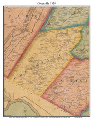 Greenville, New York 1859 Old Town Map Custom Print with Homeowner Names - Orange Co.