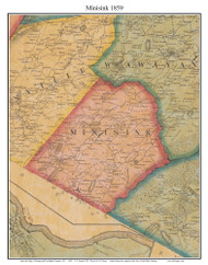 Minisink, New York 1859 Old Town Map Custom Print with Homeowner Names - Orange Co.