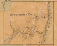Buttermilk Falls, New York 1859 Old Town Map Custom Print with Homeowner Names - Orange Co.