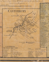 Canterbury, New York 1859 Old Town Map Custom Print with Homeowner Names - Orange Co.