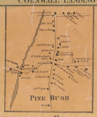 Pine Bush, New York 1859 Old Town Map Custom Print with Homeowner Names - Orange Co.