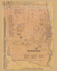 Newburgh Village, New York 1859 Old Town Map Custom Print with Homeowner Names - Orange Co.