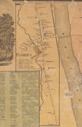 Florida, New York 1859 Old Town Map Custom Print with Homeowner Names - Orange Co.