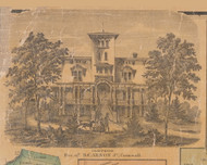 Carson Residence, Cornwall New York 1859 Old Town Map Custom Print with Homeowner Names - Orange Co.