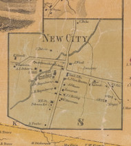 New City, New York 1859 Old Town Map Custom Print with Homeowner Names - Rockland Co.