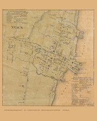 Nyack, New York 1859 Old Town Map Custom Print with Homeowner Names - Rockland Co.
