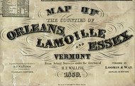 Orleans, Lamoille, Essex Cos., Vermont 1859 Old Town Map Custom Print