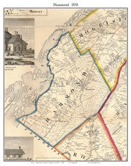 Hammond, New York 1858 Old Town Map Custom Print - St. Lawrence Co.