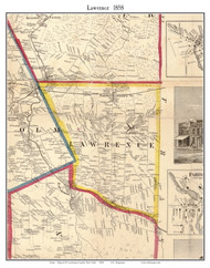 Lawrence, New York 1858 Old Town Map Custom Print - St. Lawrence Co.