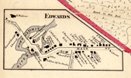 Edwards Village, New York 1858 Old Town Map Custom Print - St. Lawrence Co.