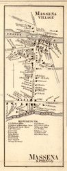 Massena Village, New York 1858 Old Town Map Custom Print - St. Lawrence Co.