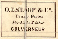 O.E. Sharp & Co. Piano Fortes, New York 1858 Old Town Map Custom Print - St. Lawrence Co.