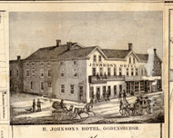 R. Johnson's Hotel, New York 1858 Old Town Map Custom Print - St. Lawrence Co.