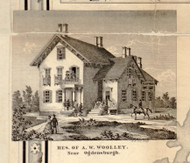 Res. of A. W. Woolley, New York 1858 Old Town Map Custom Print - St. Lawrence Co.