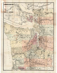 Puget Sound and Grays Harbor Country 1891 Sectional Map - Lowman & Hanford