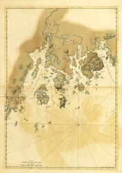Maine Coast-Frenchman's Bay, Mount Desert Island, Mosquito Island 1777 - Old Map Reprint - Maine Coastline