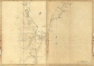 Maine Coast to New Hampshire and Massachusetts-Cape Elizabeth to Newbury Harbor 1776 - Old Map Reprint - Maine Coastline