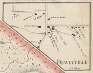 Deweyville, New York 1857 Old Town Map Custom Print with Homeowner Names - Genealogy Reprint - Lewis Co.