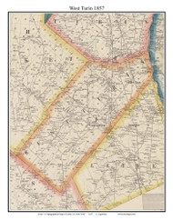 West Turin, New York 1857 Old Town Map Custom Print with Homeowner Names - Genealogy Reprint - Lewis Co.