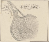 Lyons Falls, New York 1857 Old Town Map Custom Print with Homeowner Names - Genealogy Reprint - Lewis Co.