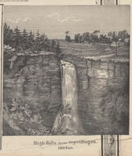 High Falls View, Denmark, New York 1857 Old Town Map Custom Print with Homeowner Names - Genealogy Reprint - Lewis Co.