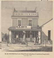 Smith Retail Store, Lowville, New York 1857 Old Town Map Custom Print with Homeowner Names - Genealogy Reprint - Lewis Co.