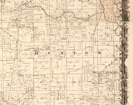 Hunter, Illinois 1870 Old Town Map Custom Print - Edgar Co.