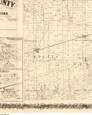 Kansas, Illinois 1870 Old Town Map Custom Print - Edgar Co.