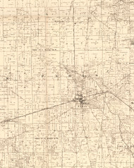 Paris, Illinois 1870 Old Town Map Custom Print - Edgar Co.